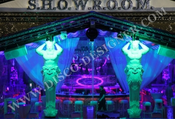 nightclub design greek statues